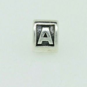"Retired Pandora block initial charm ""A"""